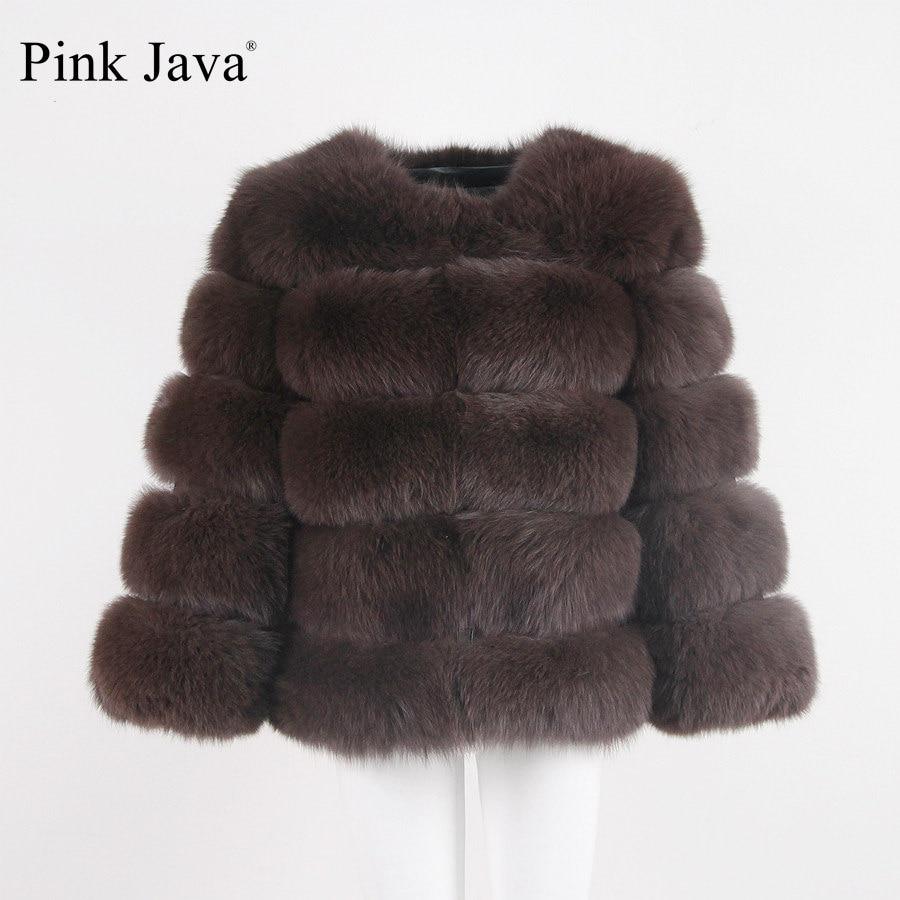 Rosa Java QC8081 2017 Nuevo Modelo mujeres real Fox fur coat manga larga invierno moda piel equipo de alta calidad