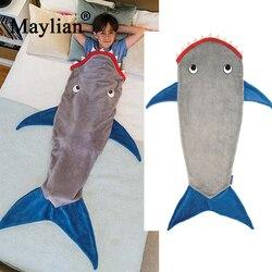 Shark blanket mermaid tail sleeping bag children sleeping bag fleece autumn and winter thickening warm for kids Boy girl  T188