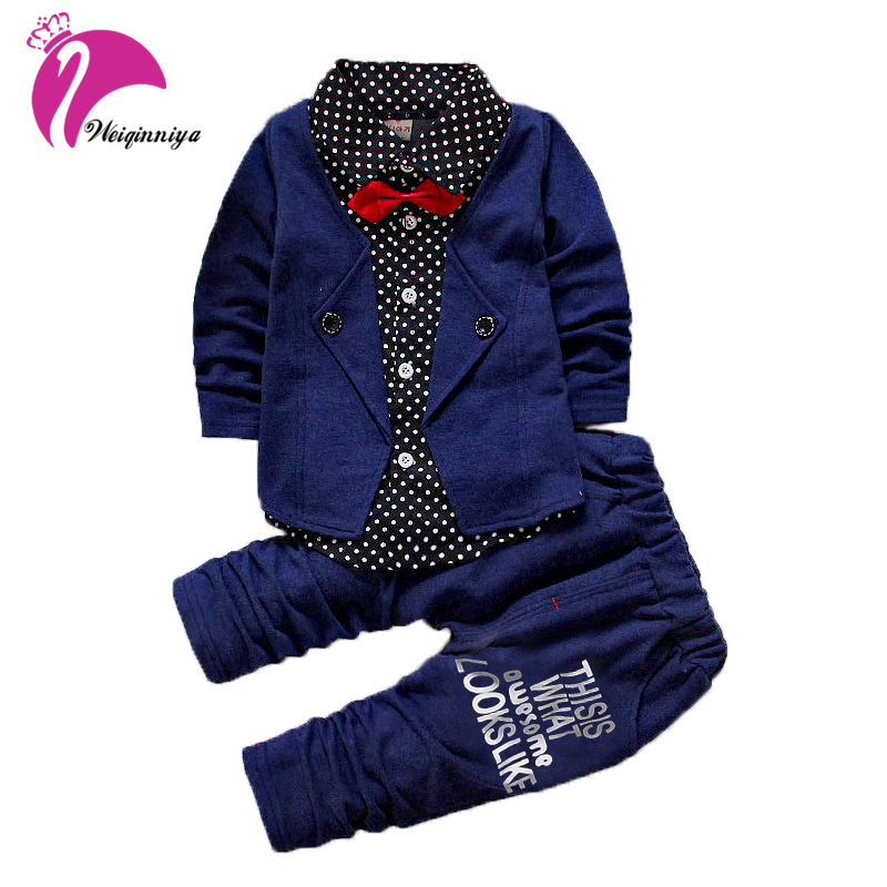 Spring Autumn Baby Boys Suit Children Formal Bow Tie Shirt+Pants Long-sleeves Clothes Set Kid 2 Piece Gentleman Wedding Clothing