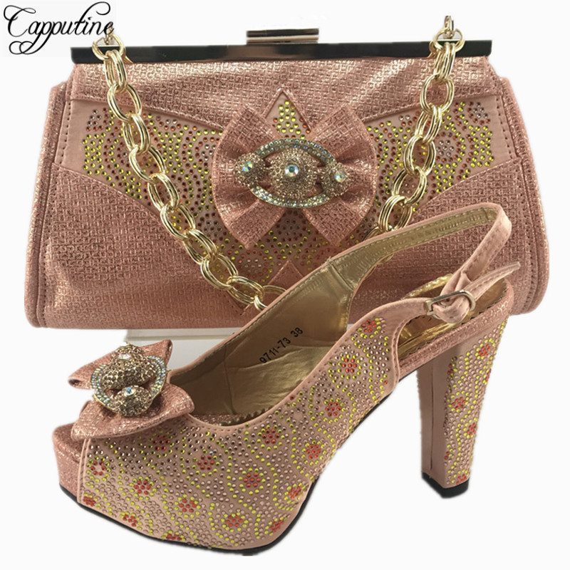 Capputine New Italian Rhinestone Shoes And Bag Set African Style Woman High Heels Shoes And Bag Set For Party Dress MM7711 capputine new italian woman pu leather shoes and shopping big bag set african fashion high heels shoes and bag set for party