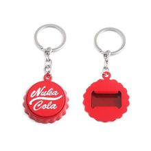 лучшая цена Hot Sale Nuka Cola Sign Keychain High Quality Metal Bottle Cap Bottle Opener Key Chain Men Women Jewelry Gift Free Shipping