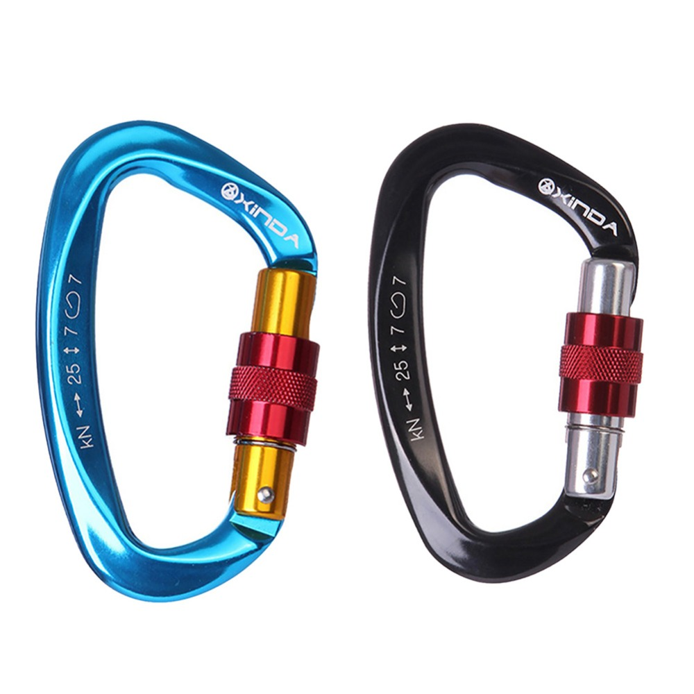 25KN Carbine Professional Carabiner D Shape key hooks Climbing Ascend Security Safety Master Lock Outdoor Rock Buckle Equipment
