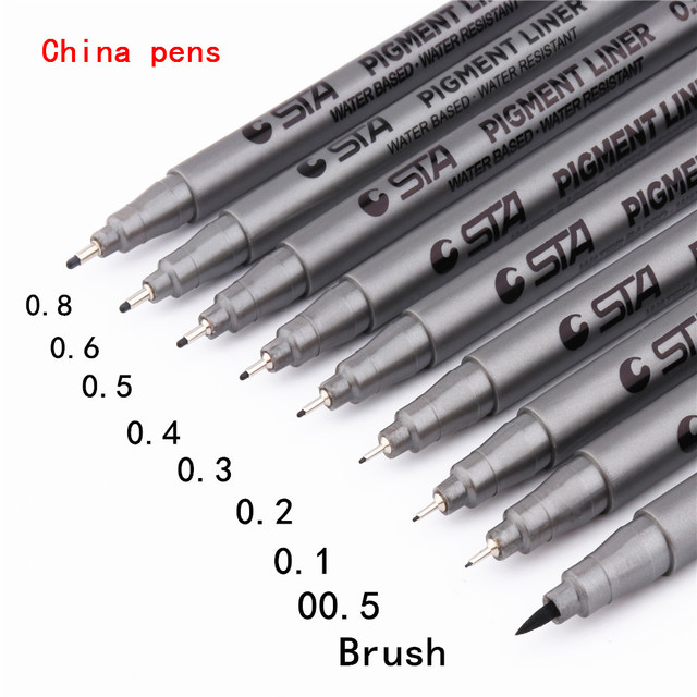 waterproof STA Art Sketch comics Art Marker Pen  Pigment Liner Water Based For Drawing Handwriting School office stationery 1