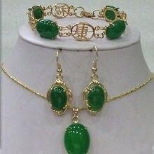 Горячая Распродажа стиль> красивый браслет с Зелеными камнями серьги ожерелье кулон