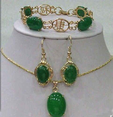 ร้อนขายรูปแบบใหม่>>>>>สวยสีเขียวหินสร้อยข้อมือต่างหูสร้อยคอจี้