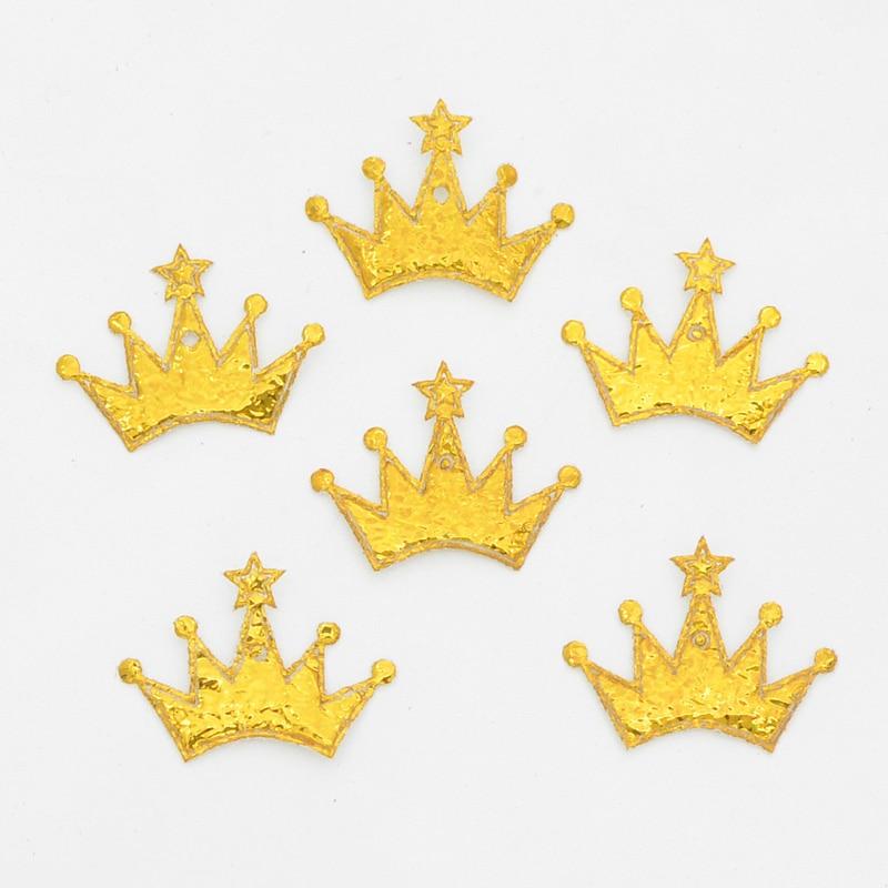 Мм 100 шт. 18*25 мм лазерной ткани Золотая Корона аппликация для Craft/свадьба/костюмы Декор DIY головные уборы аппликация с орнаментом интимные аксессуары F11