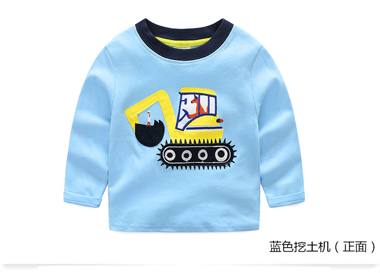 2018 Spring Autumn For 2-9 10 Years Children Cotton Striped Patchwork Cartoon Car Bus Truck Baby Kids Boys Long Sleeve T Shirts (24)