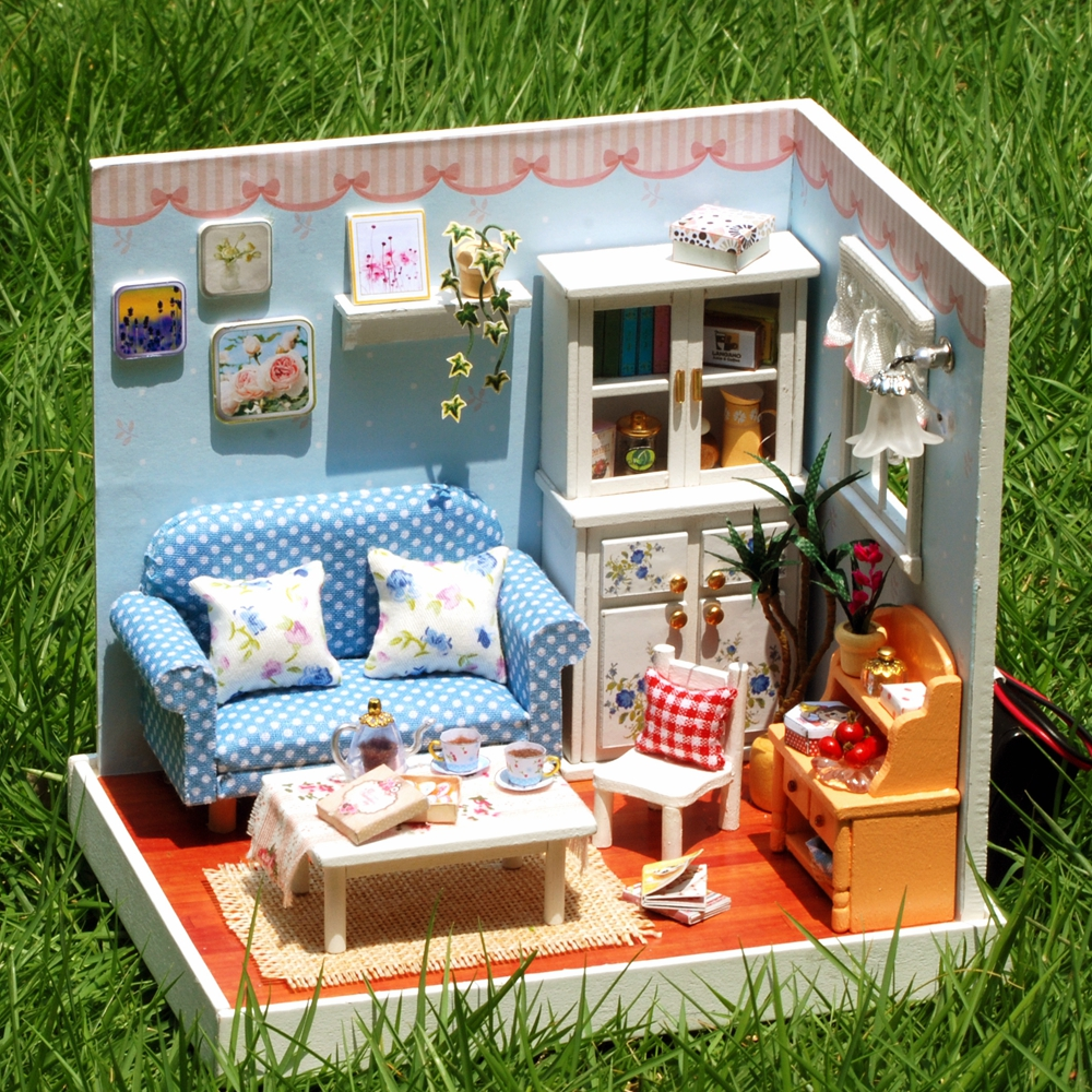 New Doll House Toy Miniature Wooden Doll House Loft With: New Doll House Furniture Miniatura Diy Doll Houses
