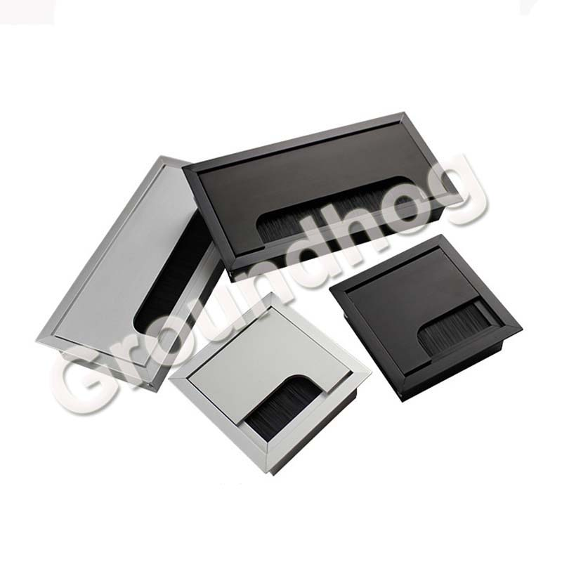 Aluminum Alloy Table Desk Rectangle Wire Cable Grommet Hole Cover Outlet Port With Black Brush