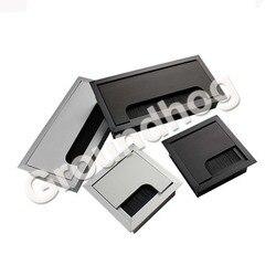 Mesa de liga de alumínio mesa retângulo fio cabo ilhó buraco capa porta saída com escova preta