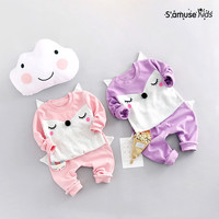 2017 New Spring Autumn Newborn Baby Girl Clothes Boys Sports Clothing Set Cute Cartoon Fox Sweatshirt