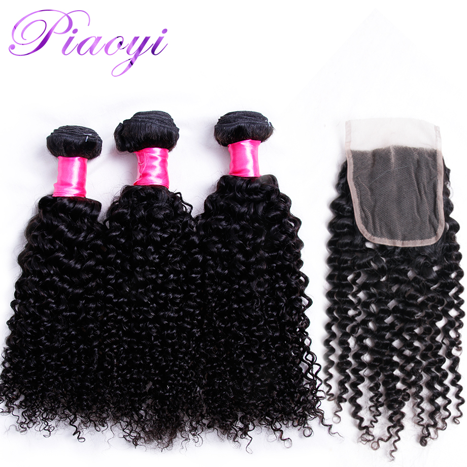 Piaoyi Indian 3 Bundles Wave Hair With 4x4 Lace Closure Kinky Curly Human Hair Weave Bundles With Closure Non Remy Hair Bundles