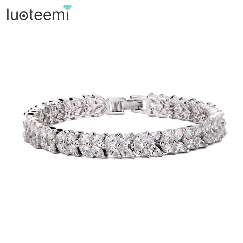 LUOTEEMI Fashion Classic Style Bracelet Women Marquise Cut Clear CZ Bracelet Bangles White Gold Color Wholesale