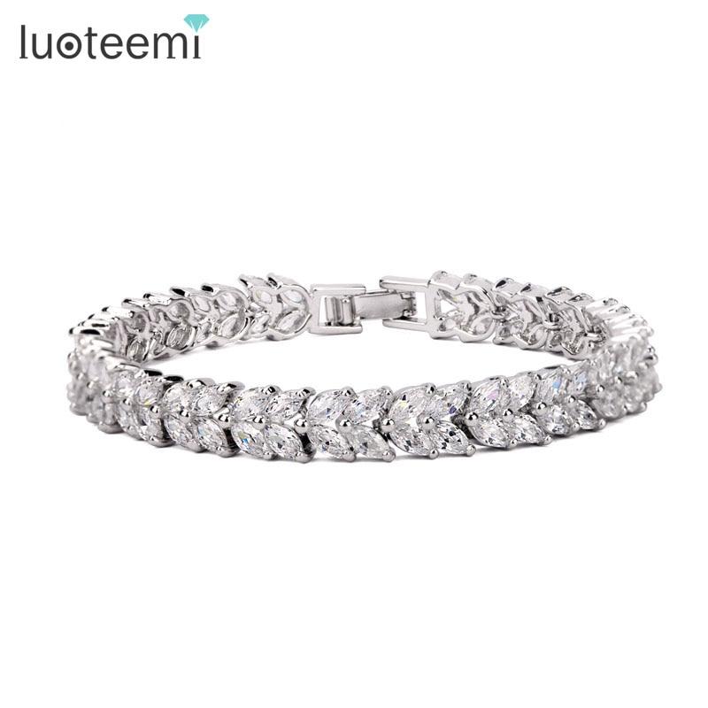 Prix pour LUOTEEMI Mode Classique Style Bracelet Femmes Marquise Cut Clear CZ Bracelet Bracelets Or Blanc Couleur Gros Bijoux