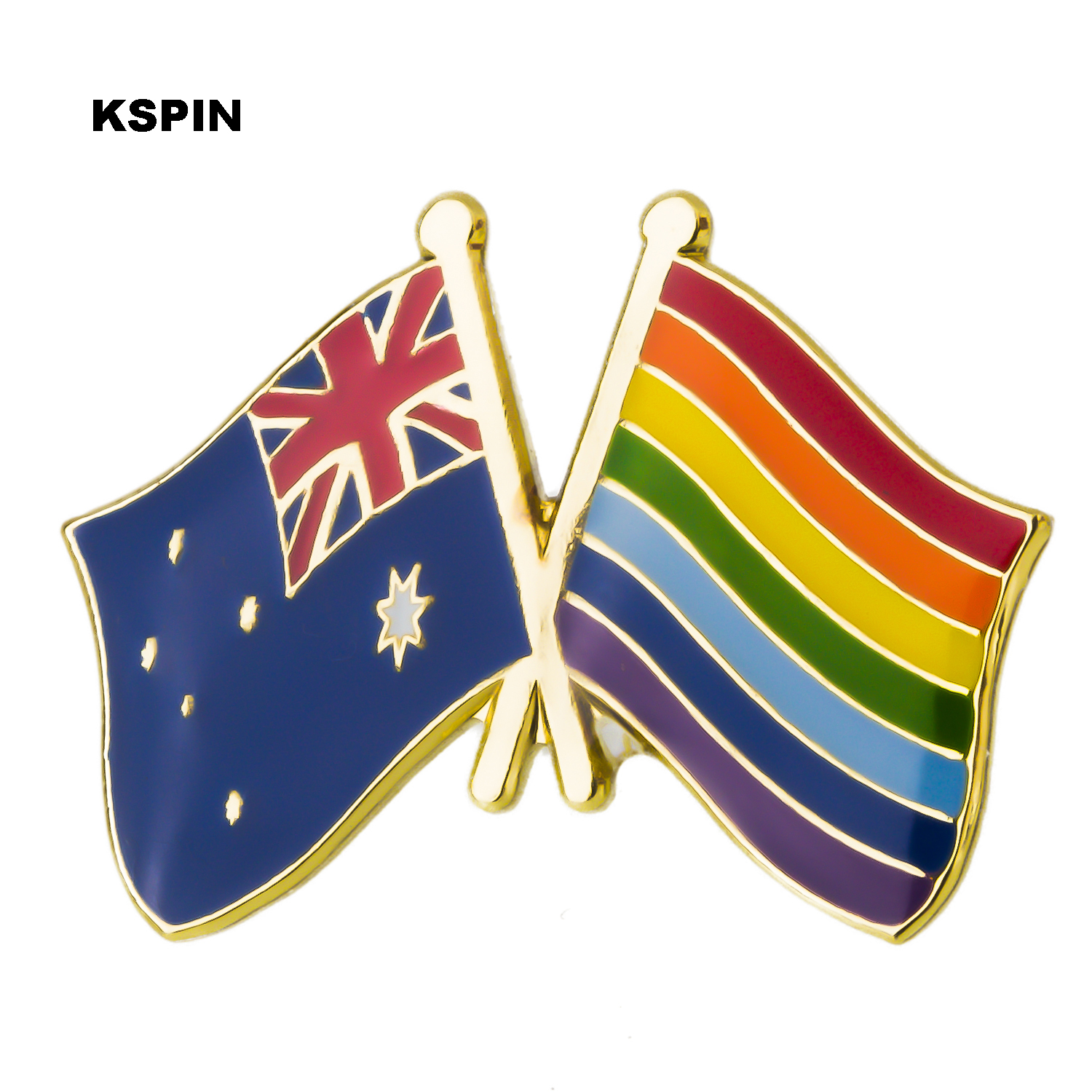 Faithful Australia Rainbow Friendship Flag Label Pin Metal Badge Badges Icon Bag Decoration Buttons Brooch For Clothes 1pc Badges