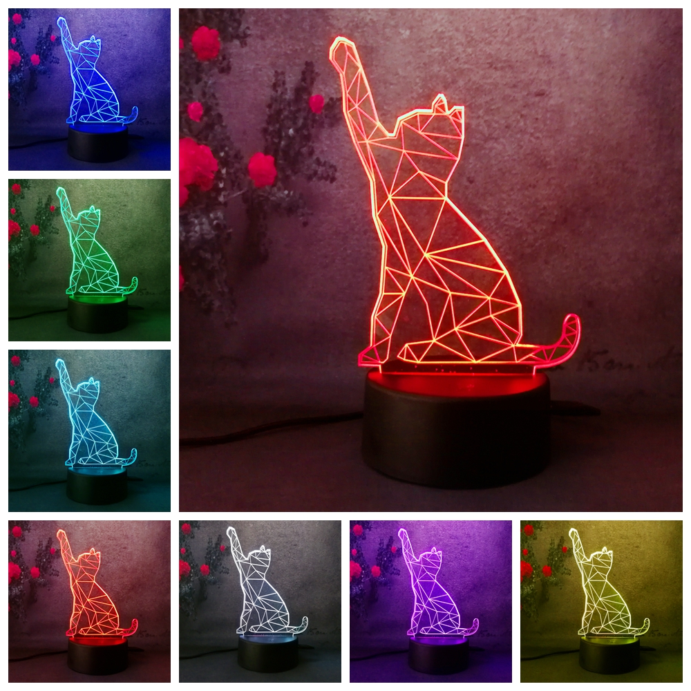 3D Sleep Kid Light Animal Cat Night Light decoration home christmas gift 7 Color Kid Touch Switch Type 3D LED Lamp table lamp цены