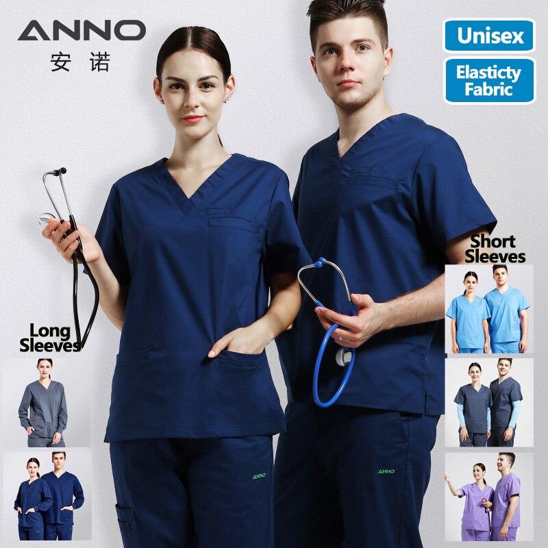 Elasticity Cotton Spandex Body Nurse Uniform For Women Men Medical Suit Scrubs Suit Dental Hospital Set