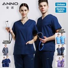Эластичная форма медсестры из хлопка и спандекса для женщин и мужчин, медицинский костюм, стоматологический больничный набор, рабочая одежда, одежда для кормления