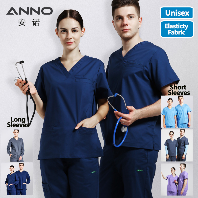 Elasticity Cotton Spandex Body Nurse Uniform For Women Men Medical Scrubs Suit Dental Hospital Set Work Wear Nursing Clothing