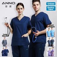 Elasticity Cotton Spandex Body Nurse Uniform For Women Men Medical Scrubs Suit Dental Hospital Set Work Wear Nursing Clothing