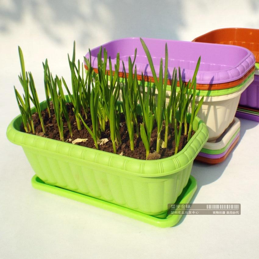 Balcony rectangular plastic flower pots vegetable planting flower pots