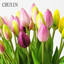 Wedding Flowers Tulips Home-Decoration Soft-Silicone Real-Touch Artificial-7pcs/bunch