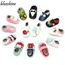 Moda bonito do bebê mocassins vaca couro genuíno sola macia crianças zapatos sapatos recém-nascidos 0-24 m infantil meninos meninas primeiros caminhantes
