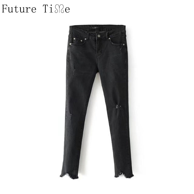 Future Time Women High Waist Tassel Jeans 2017 Female Vintage Ripped Black Jeans Female Skinny Denim Pants Femme Trousers NZ035 new women s vintage ripped high waist jeans pencil stretch denim pants female slim skinny trousers autumn winterjeans