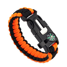 Braided Bracelet Men Women Paracord Outdoor Survival Bracelet Camping Rescue Emergency Rope Bangles Compass Whistle Knife 4 in 1