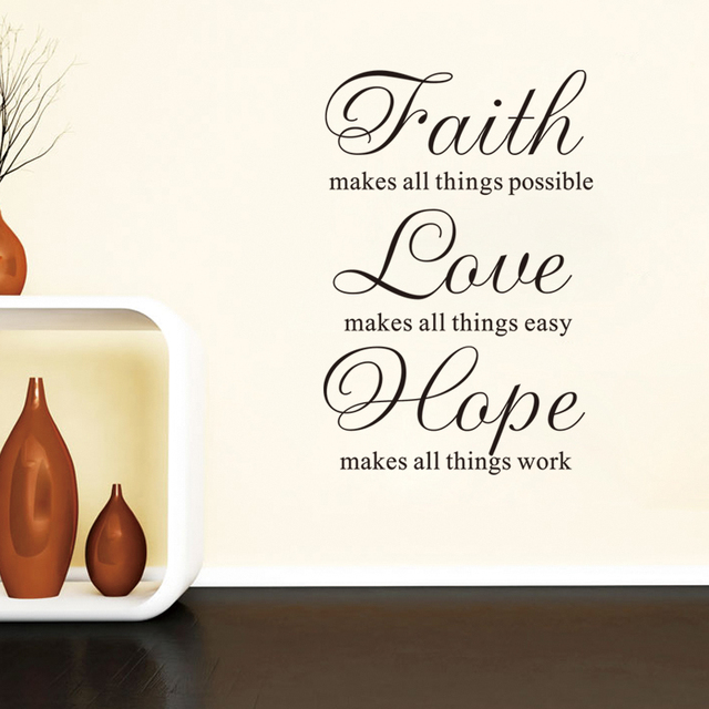 Inspiration Quote Faith Love Hope Home Decor Wall Sticker Mural Art Gorgeous Faith Love Hope Quotes