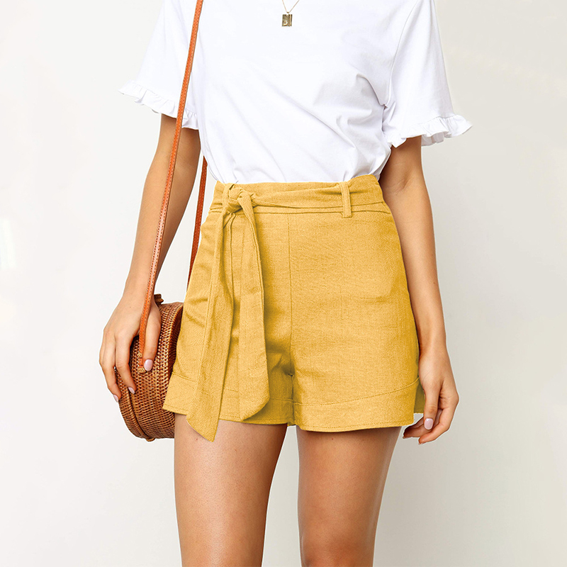 ZHYMIHRE Tie Front High Waist Linen   Shorts   Women Solid Spring Summer Casual   Short   Pants Pantalones Cortos Mujer Ladies   Shorts
