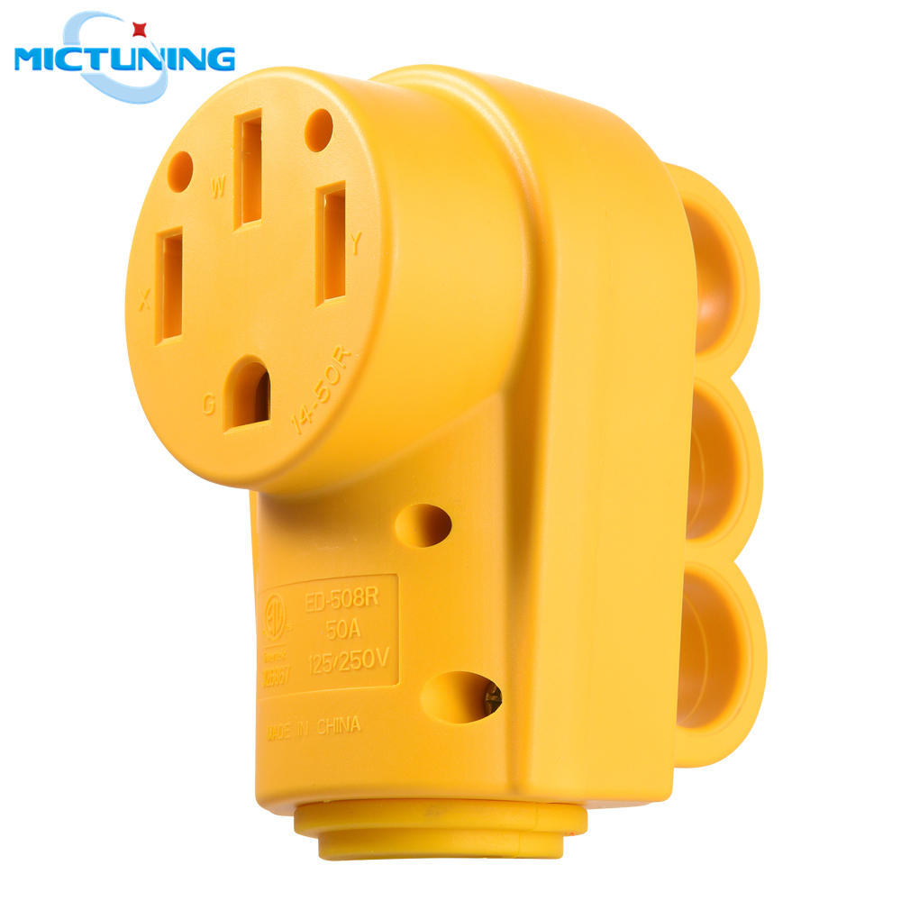 MICTUNING 125/250V 50Amp Heavy Duty RV Female Power Replacement Receptacle Plug With Ergonomic Grip Handle 50A RV Female Socket
