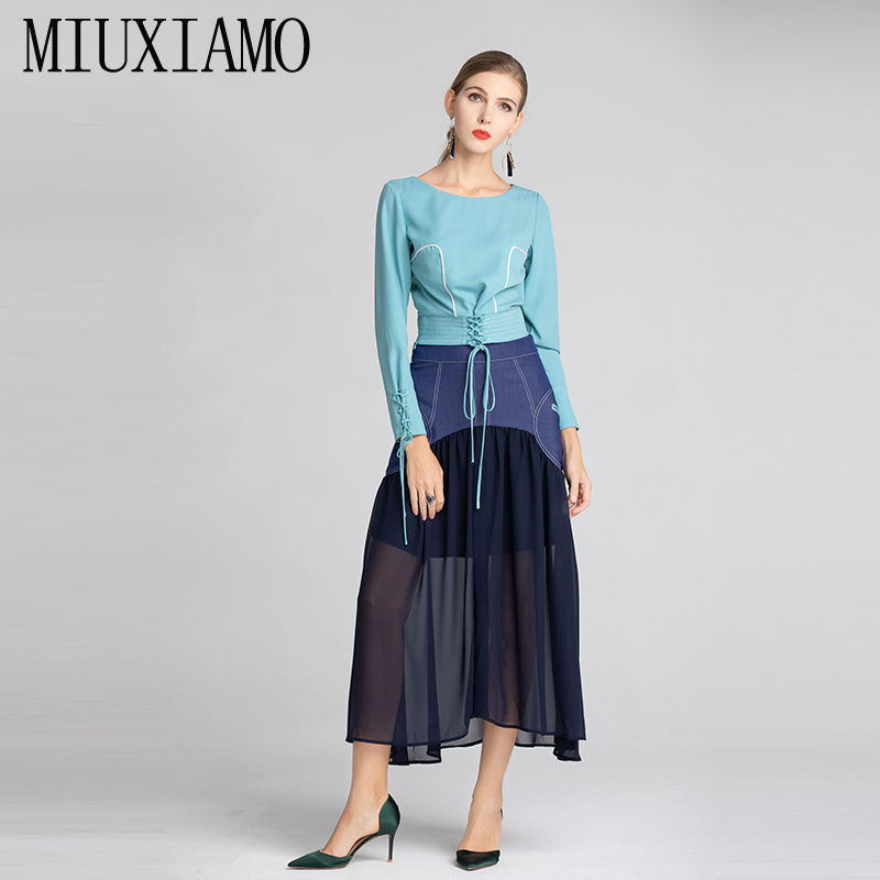 Ensembles Costume Miuximao Nouveau Manches 2019 Pièce Style 2 Longues Printemps Jupe Salopette cou Bleu À Top Épissage Robe Femmes D'o nX1WX