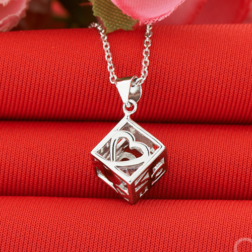 Love hearts shaped 925 sterling silver pendant necklace wholesale love hearts shaped 925 sterling silver pendant necklace wholesale silver jewelry cube pendant necklaces korean jewelry mozeypictures Choice Image