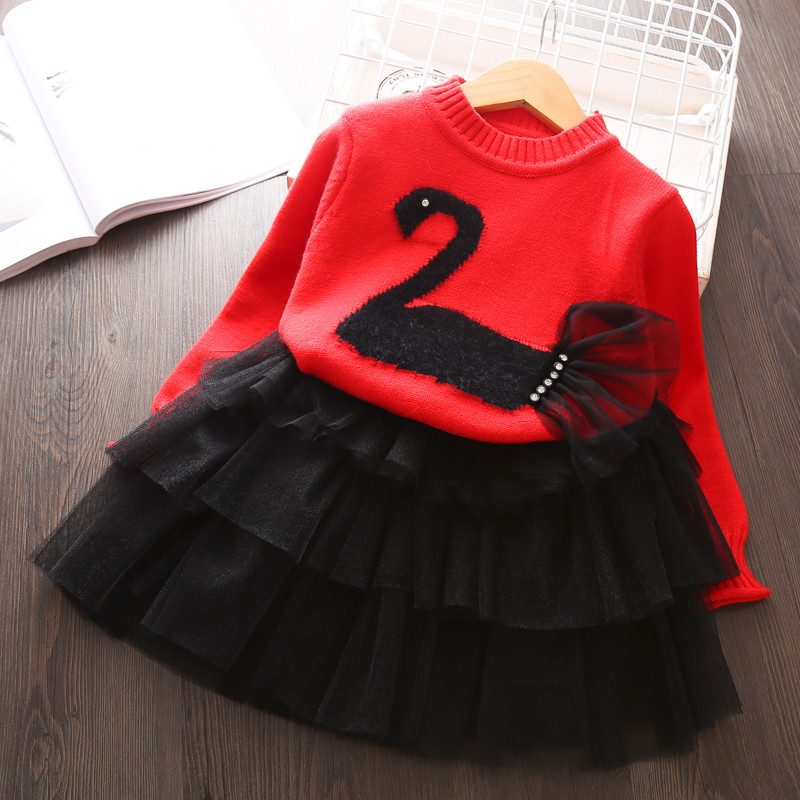 Children outfits Sweater suit for girls knitted Pullover Tutu Skirt Autumn Winter girls Clothing set Kids 2pcs Birthday Clothes