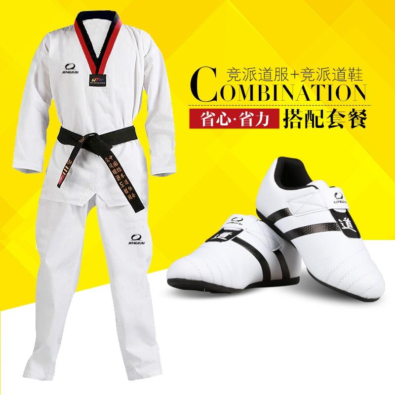 ФОТО Child adult taekwondo shoes + taekwondo dobok one set men women mooto WTF Tae kwon do uniforms