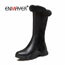 купить ENMAYER Woman Knee High boots Women Shoes Winter Boots Buckle Zip Boots for Women Thigh high booty Flock Fashion Boots CR1682 по цене 3657.77 рублей