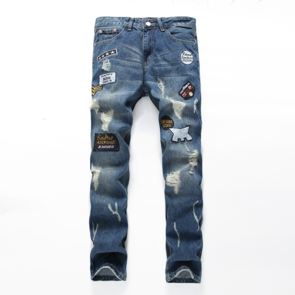 Personality Badge Patchwork Jeans Men Ripped Jeans Distressed Scratched Biker Jeans Hole Denim Straight Slim Fit Casual Pants new fashion mens patchwork straight trousers men distressed ripped jeans brand scratched biker jeans denim slim fit casual pants