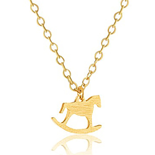 84787c14afc US $1.68 20% OFF|GORGEOUS TALE Personalized Name Fashion Jewelry Wooden  Horse Shape Small Charm Pendant Short Chain Collar Choker Necklace Women-in  ...