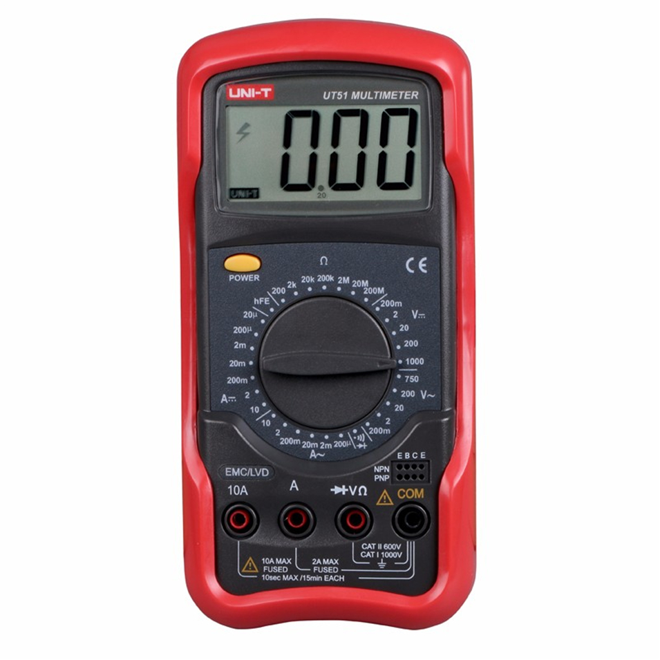 UNI-T UT51 Digital Multimeters DC AC Voltage Current Resistance Meter Tester Voltmeter Ammeter Ohmmeter Tester LCD Backlight uni t ut71b professional intelligent lcd digital ac dc current voltage meter usb true rel resistance tester ammeter multitester