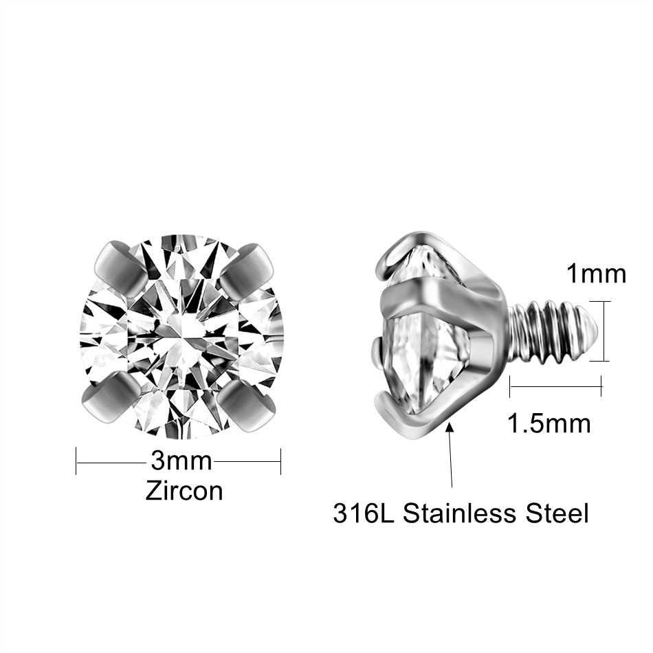 G23titan 10 Màu Zircon Hạt cho Cơ Thể Trang Sức Trong Nội Bộ Phối Ren Thép không gỉ Bóng Vít cho Labret Cong Barbell