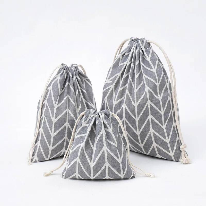 YILE Gray Arrow Geometry Cotton Linen Drawstring Organized Pouch Cosmetic Bag 8614j