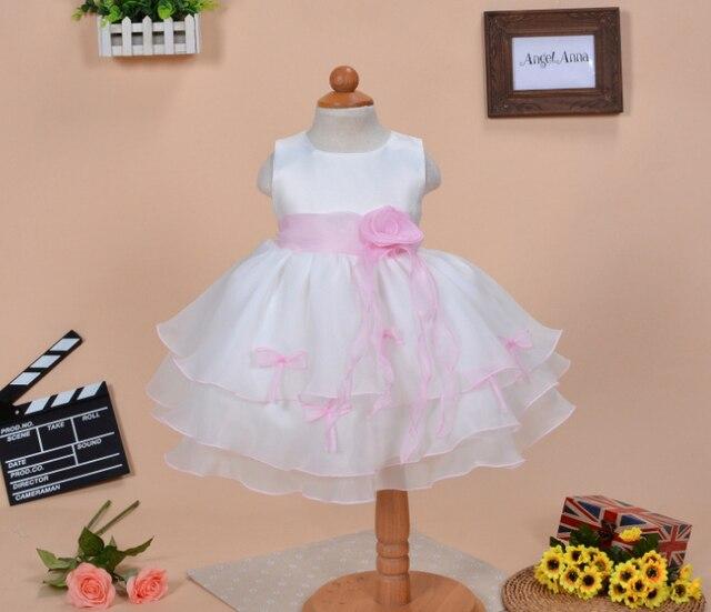 bac7778aecc6 Fiore del bambino Bow Abiti Tutu Neonato Vestito Dalla Principessa 1 anno  Compleanno Matrimonio