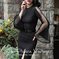le palais vintage summer 50's elegant net long flare sleeve wiggle pencil little black dress plus size 4xl vestido pinup dresses