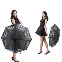 NX Creative Automatic Three Folds Anti UV Protection Umbrella Raindrops Changing Umbrella Rain Women