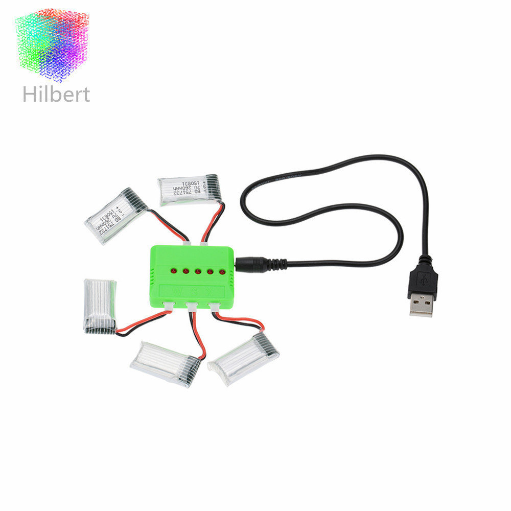 ФОТО x5 charger and 5pcs upgrade 3.7v 260mah lipo battery for jjrc h8 eachine h8 mini rc quadcopter parts