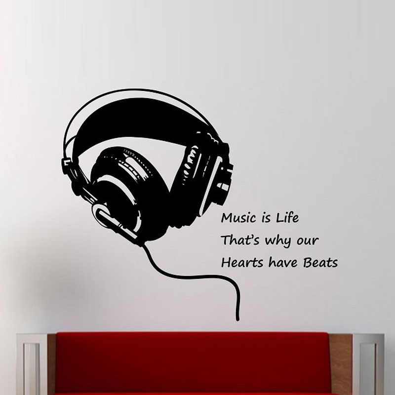 ZOOYOO Music Wall Decal Headphones Music Is Life Wall Sticker Quote Home Decor Bedroom Design Art Murals