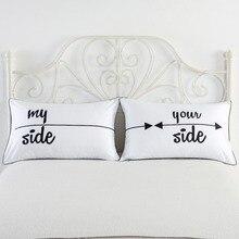 White Black Heart & Skull Printing Couple Pillow Case Home Decorative Pillow Cover Pillowcases 2pcs/lot 48x74cm
