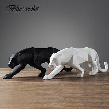4 cor Abstrato Moderno Preto/Branco Geométrica Leopardo Pantera Estátua da Resina do Desktop Artesanato Escultura Decoração Para Casa Animais Estatueta