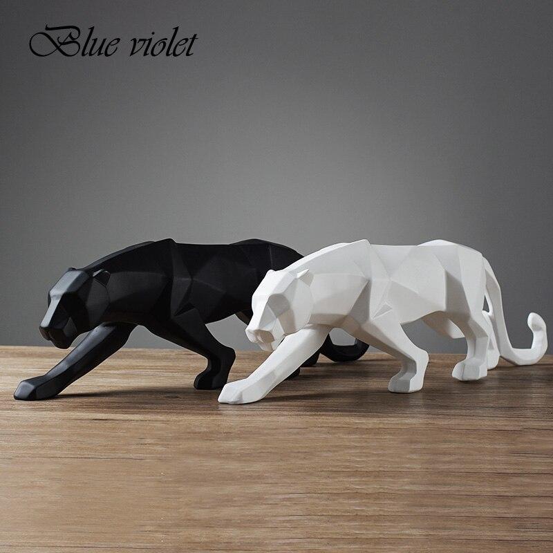 4 renk Modern soyut siyah/beyaz geometrik leopar heykeli masaüstü reçine panter el sanatları heykel ev dekor hayvan heykelcik